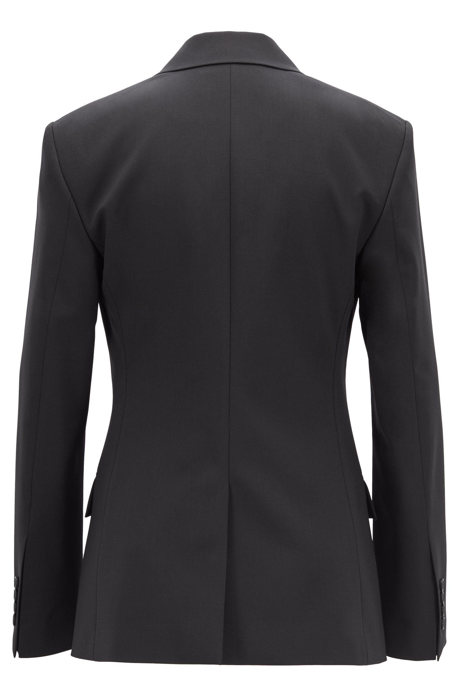 Slim-fit blazer van Italiaanse scheerwol met stretch, Zwart