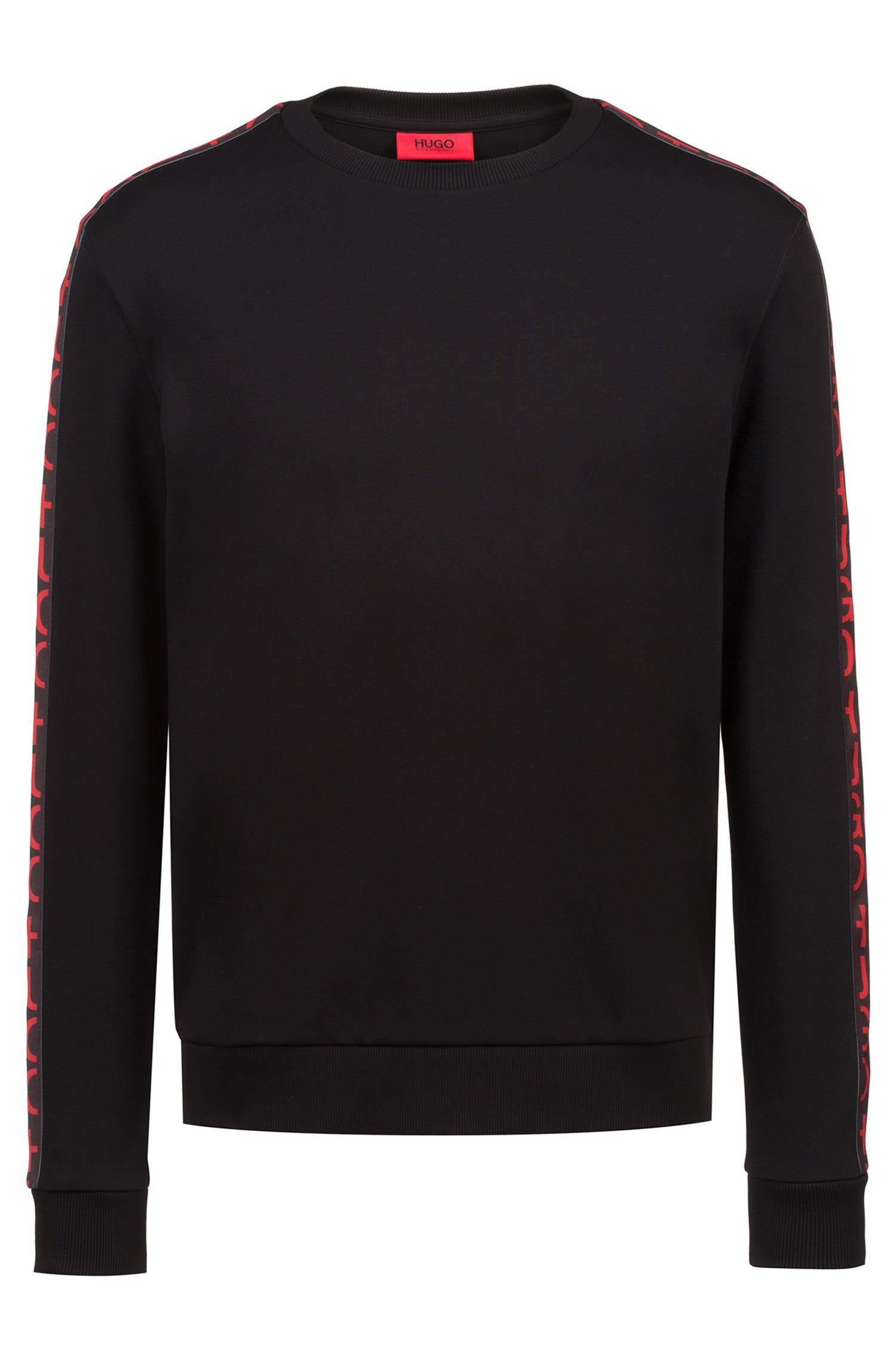 Sweatshirt aus Interlock-Baumwolle mit Logo-Band am Ärmel, Schwarz