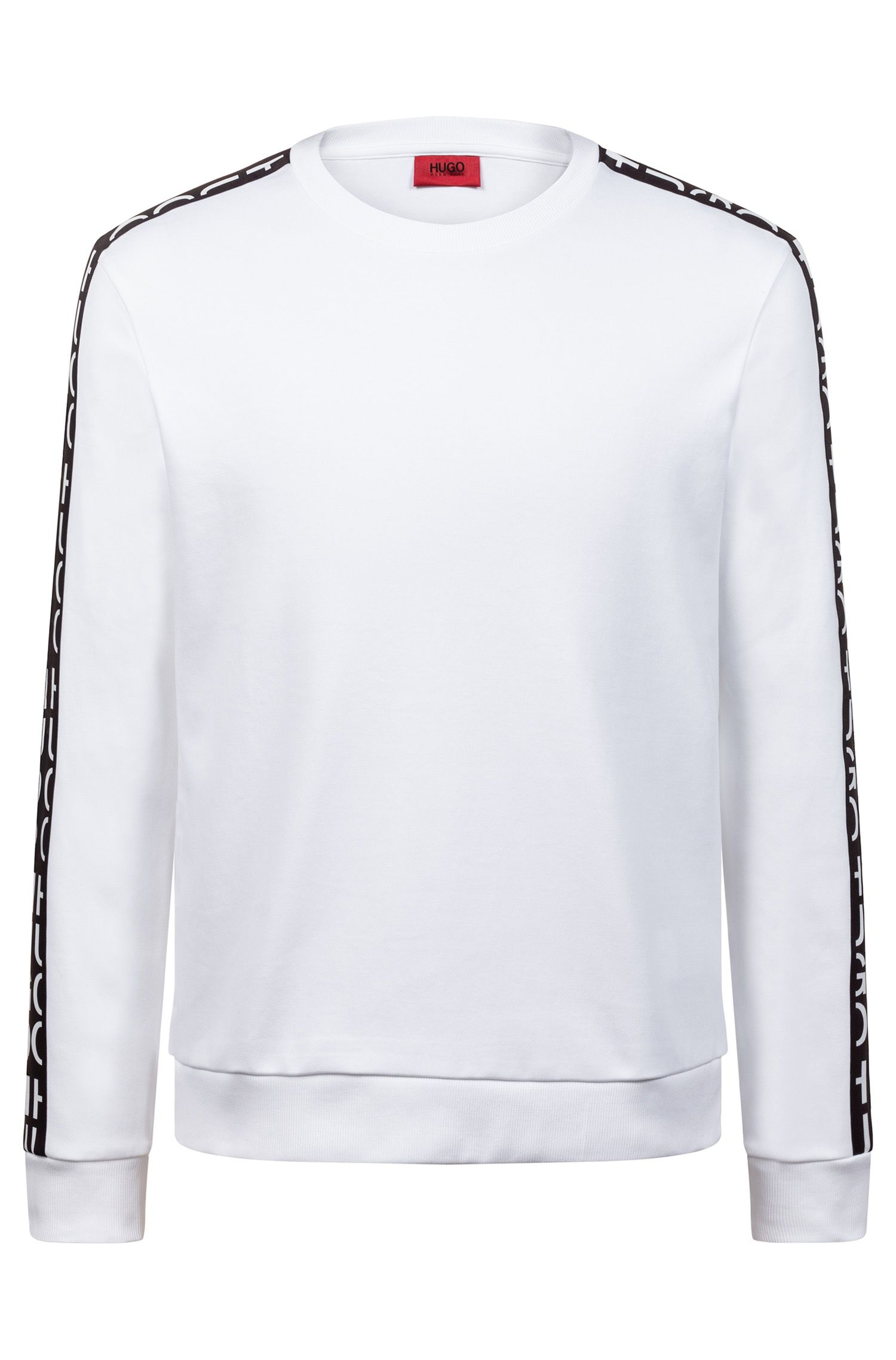 Interlock-cotton sweatshirt with logo-interpretation sleeve tape, White