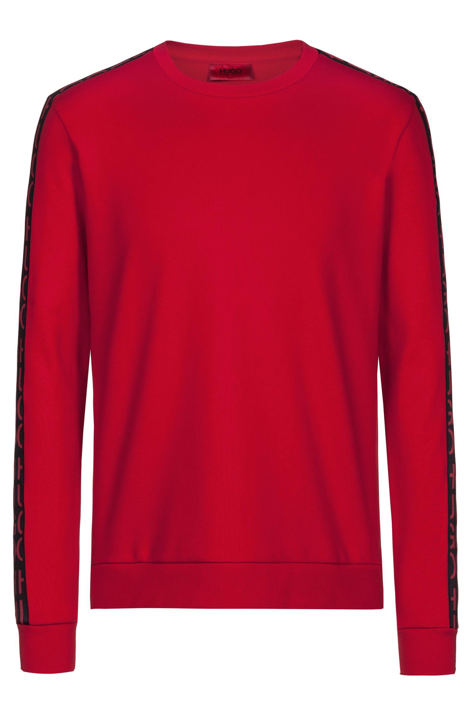 Sudadera en algodón interlock con cinta de logo reinterpretado en la manga, Rojo
