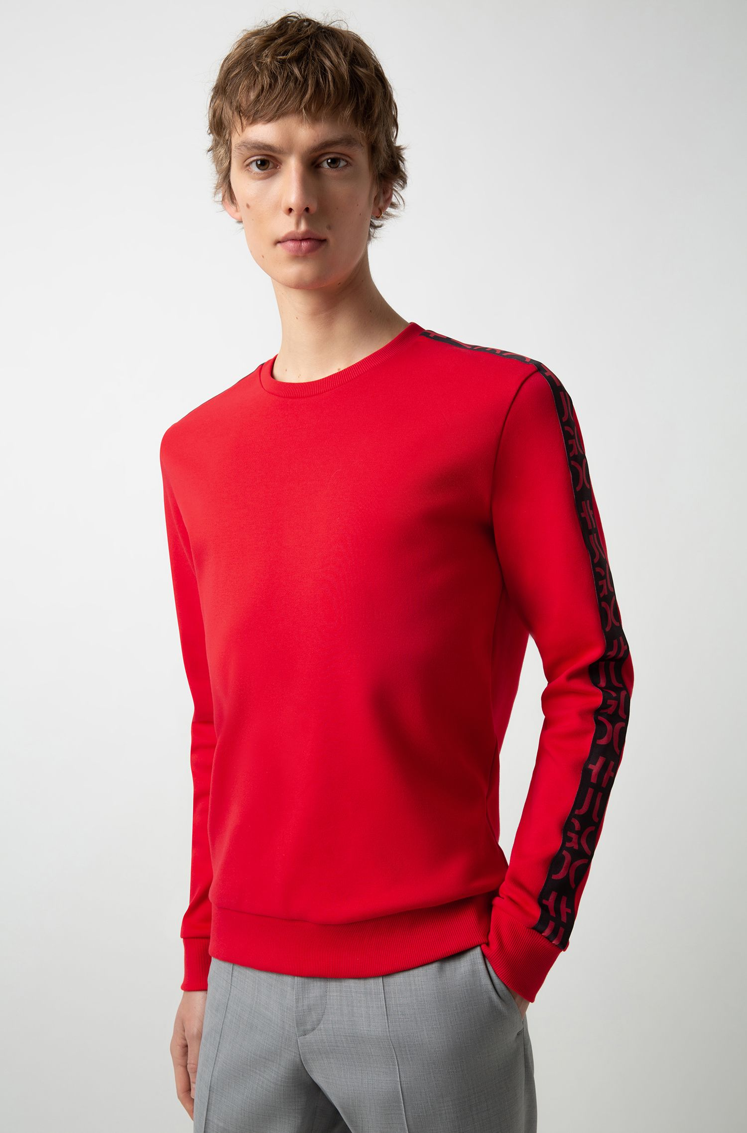 Interlock-cotton sweatshirt with logo-interpretation sleeve tape, Red