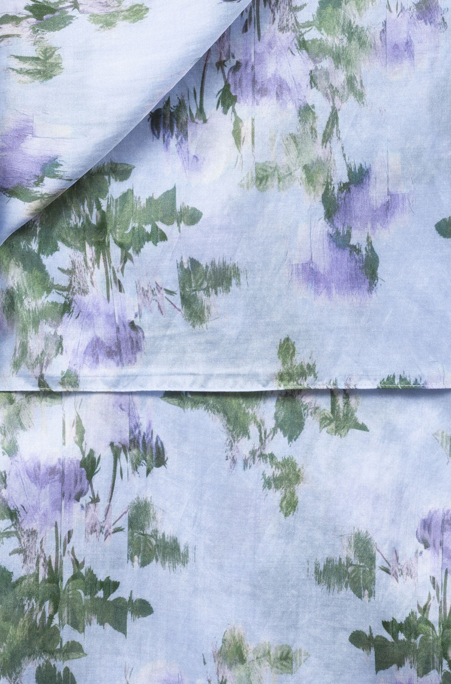 Cotton-silk scarf with blurred floral pattern, Patterned