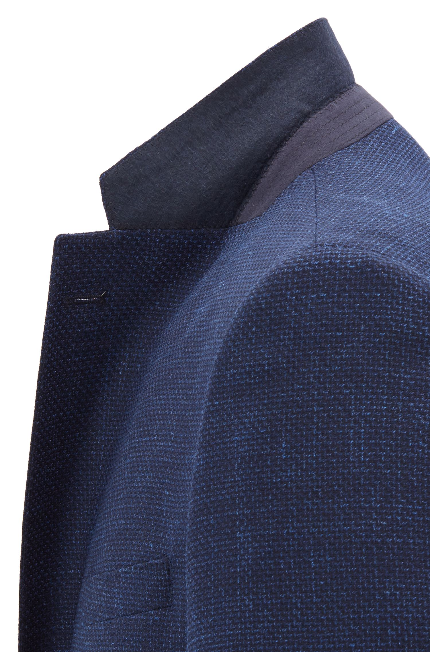 Regular-fit tailored jacket in micro-patterned stretch fabric, Open Blue
