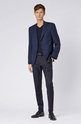 Regular-fit tailored jacket in micro-patterned stretch fabric, Light Blue