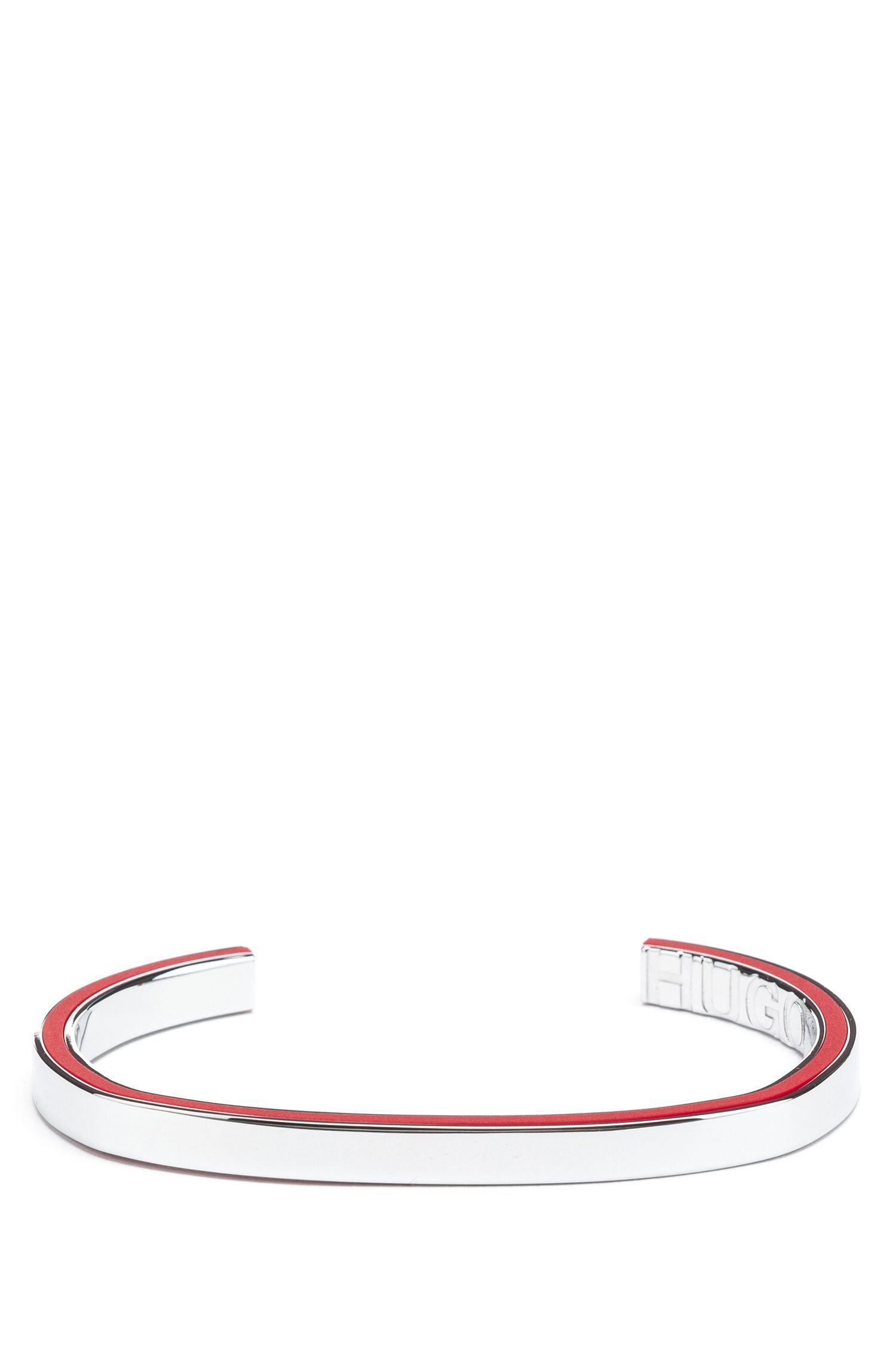 Bracelet en laiton avec insert en émail, Argent
