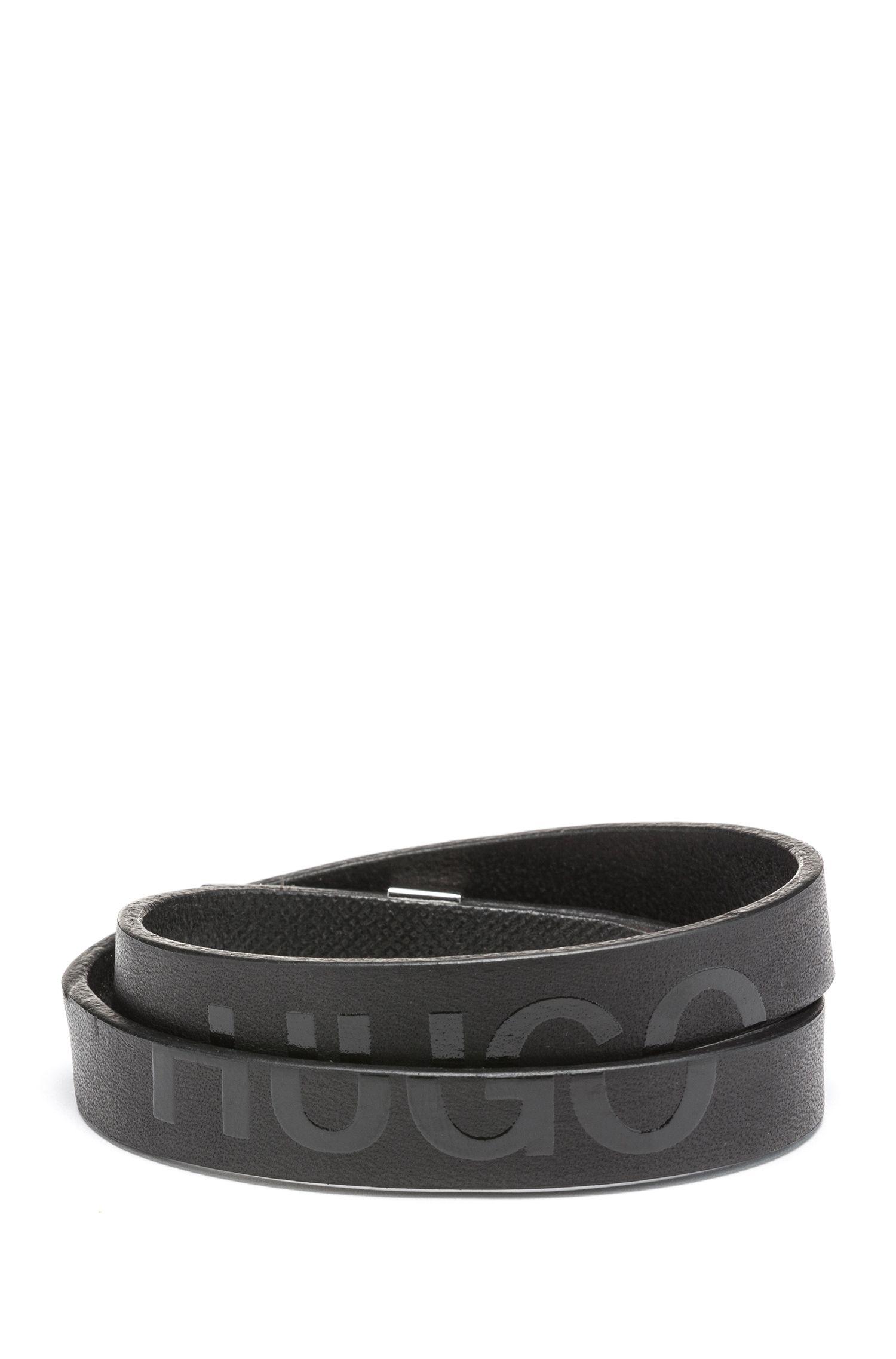 Hugo Boss - Double-wrap bracelet in Italian leather with cropped logo - 1