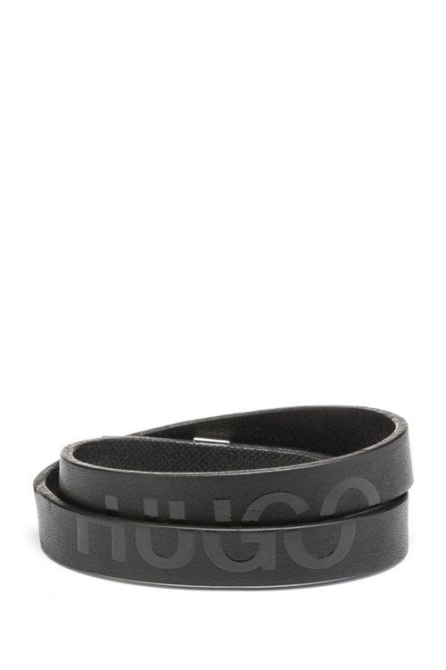 Hugo Boss - Double-wrap bracelet in Italian leather with cropped logo - 1