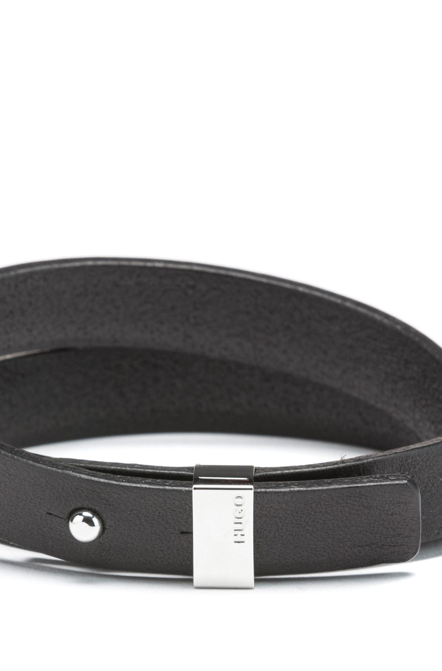 Wickelarmband aus italienischem Leder mit abgeschnittenem Logo, Schwarz