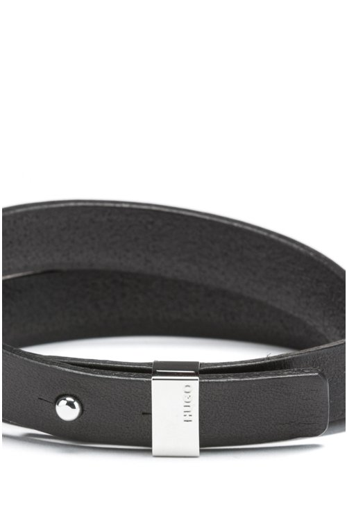 Hugo Boss - Double-wrap bracelet in Italian leather with cropped logo - 3
