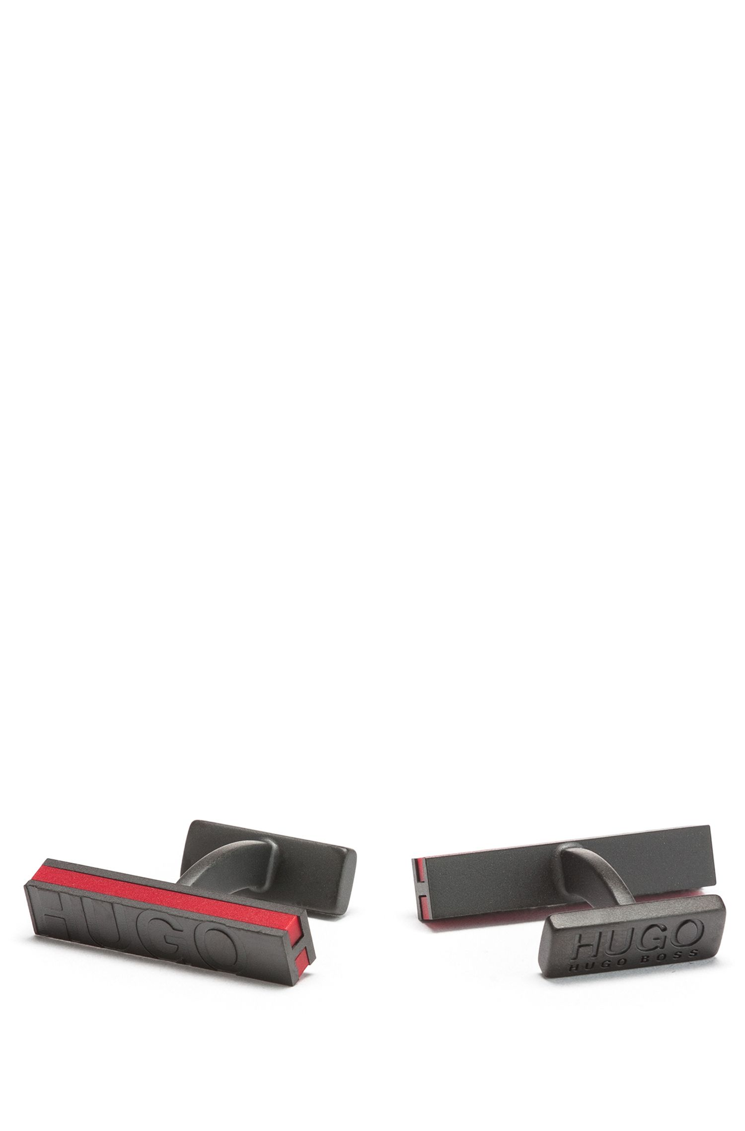 Gemelos rectangulares con aplique de esmalte rojo y detalle de logo, Gris oscuro