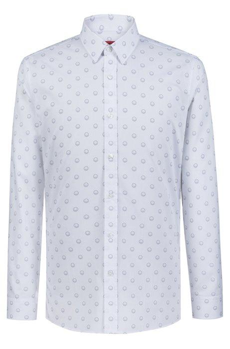 Chemise Extra Slim Fit en coton à motif émoticônes, Blanc