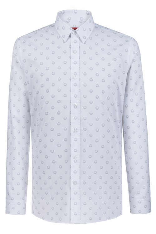 Hugo Boss - Extra-slim-fit cotton shirt with smiley-face motif - 1