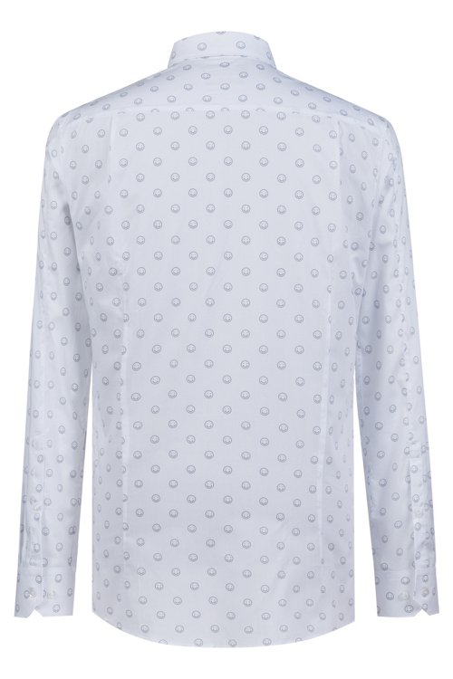 Hugo Boss - Extra-slim-fit cotton shirt with smiley-face motif - 4
