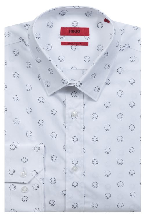 Hugo Boss - Extra-slim-fit cotton shirt with smiley-face motif - 5