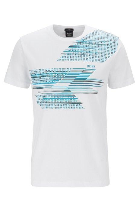 954186d05 BOSS - Slim-fit T-shirt with geometric multicoloured artwork