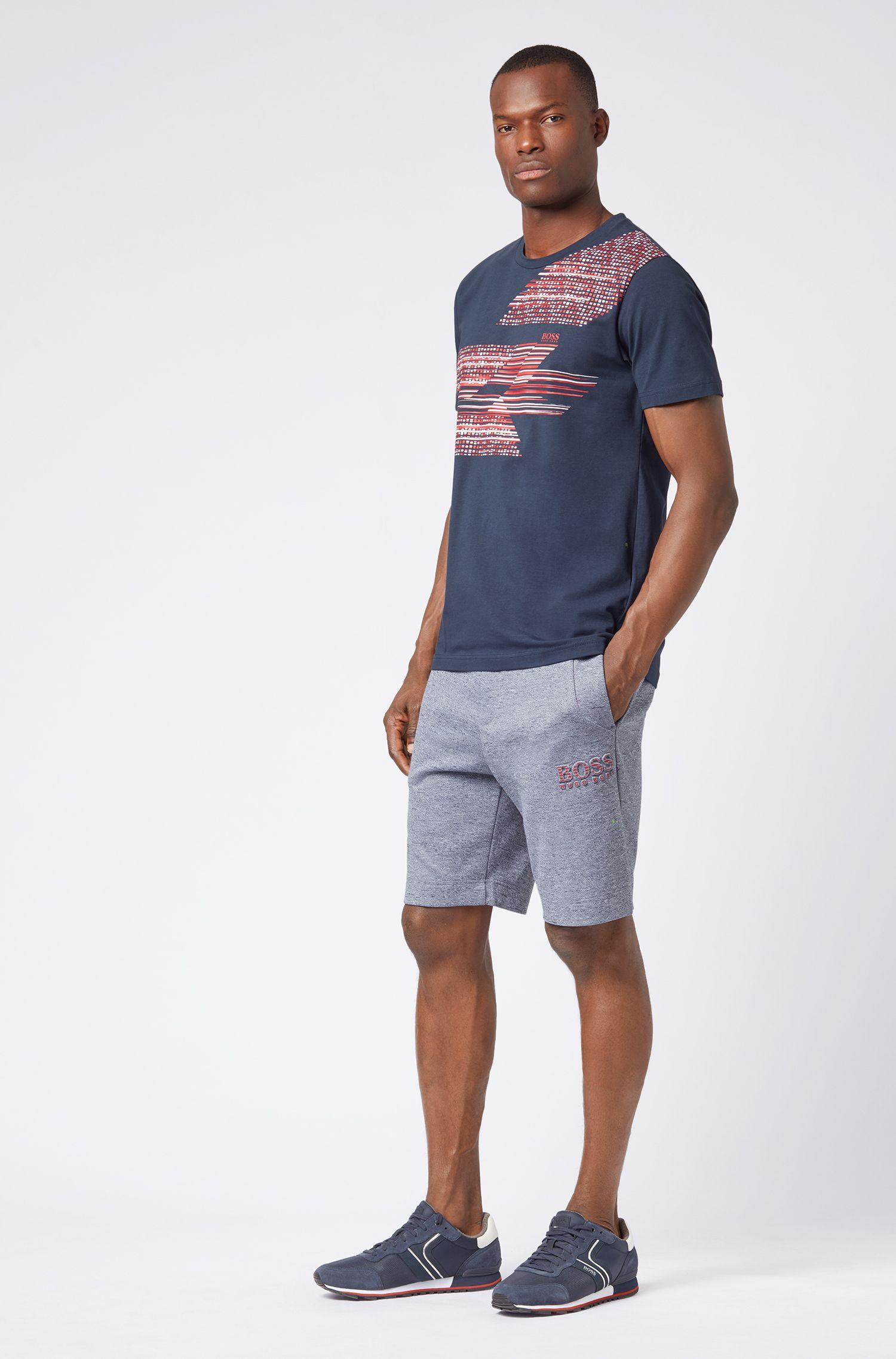 Slim-fit T-shirt with geometric multicoloured artwork, Dark Blue