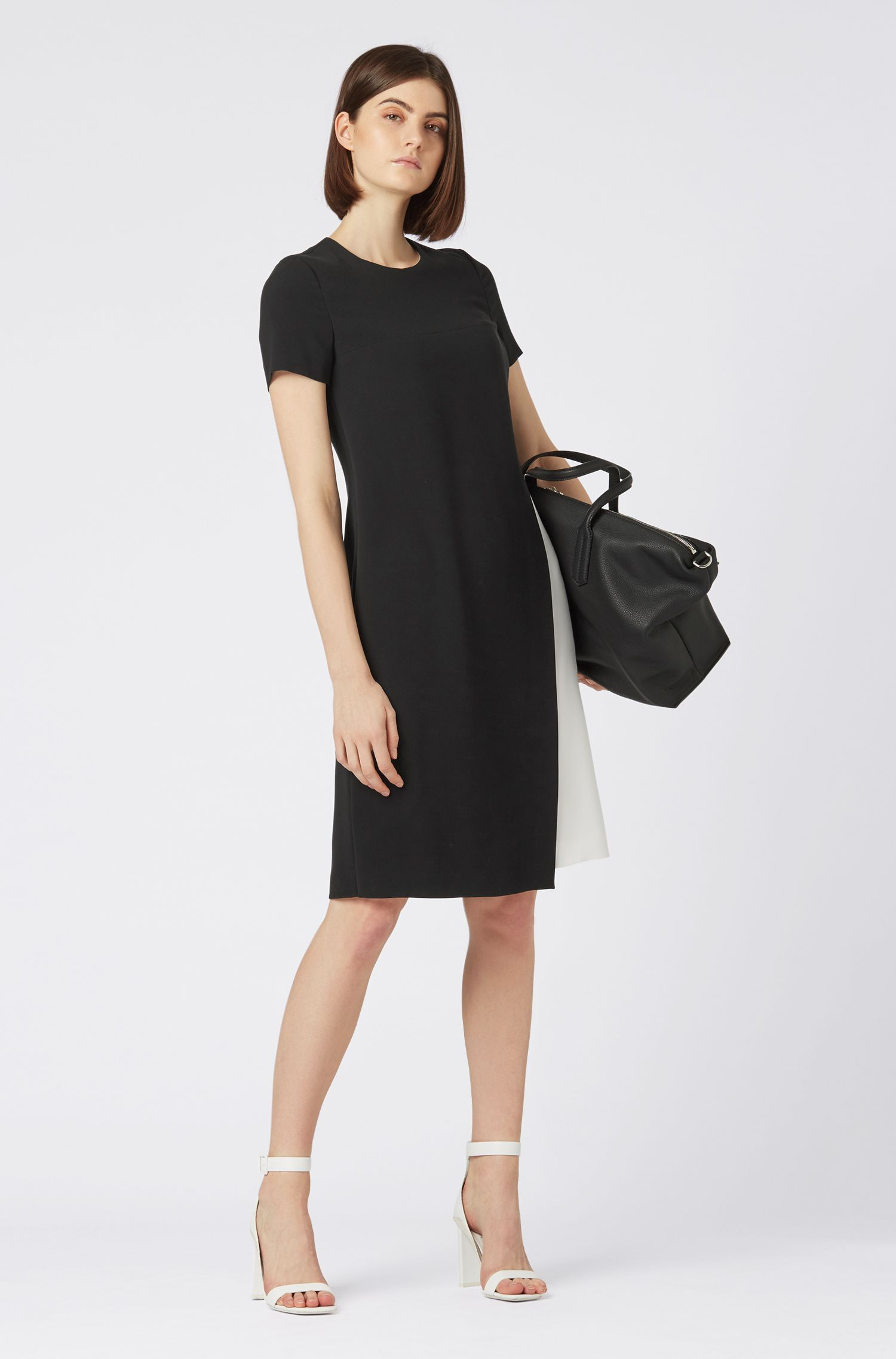 Colourblock dress in crease-resistant Japanese crepe, Black
