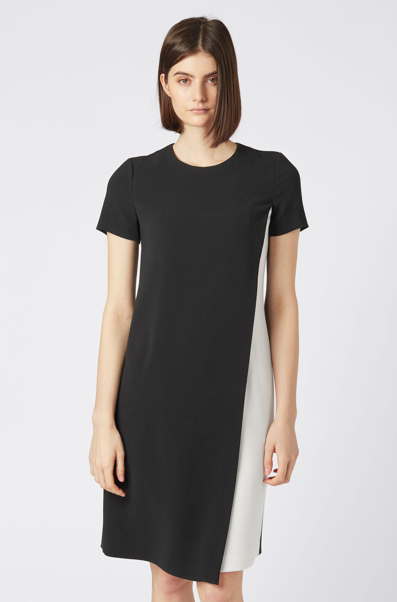 Colour-Block-Kleid aus knitterfreiem japanischem Krepp, Schwarz