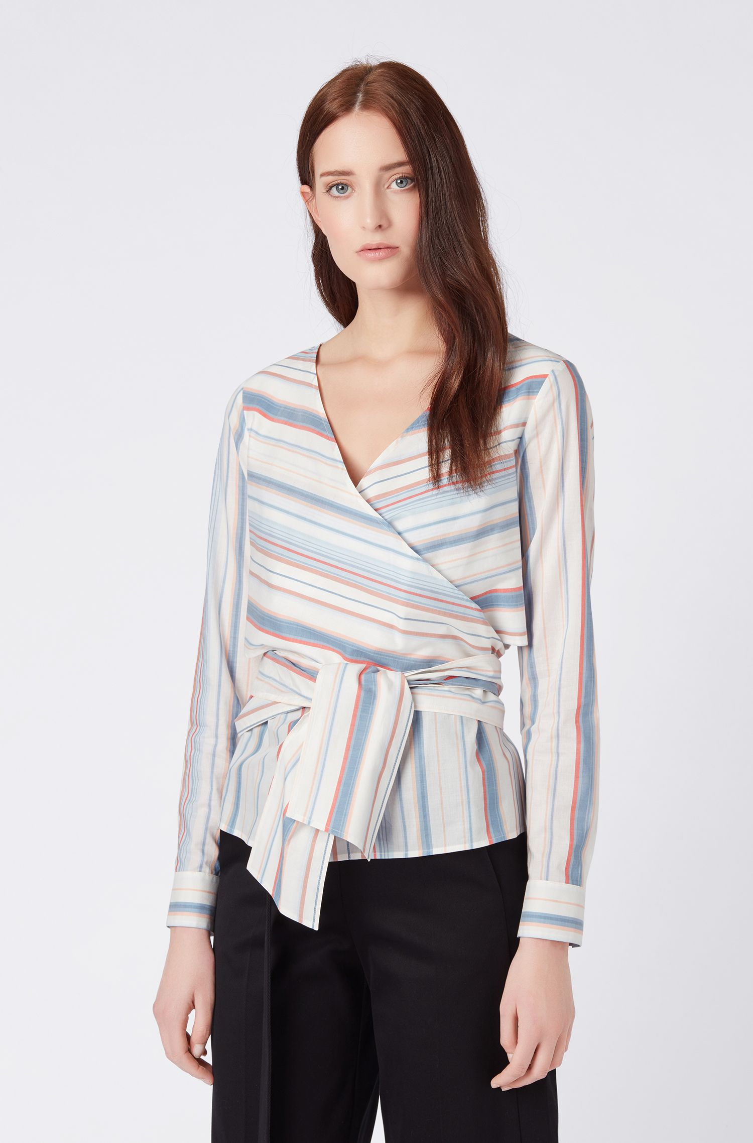 Wrap-style blouse in multi-coloured striped cotton, Patterned