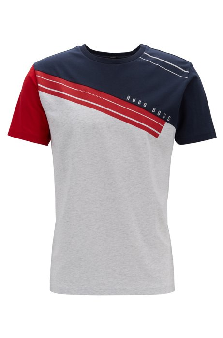 69cb02ad6 BOSS - Colour-block T-shirt in stretch cotton with fineline artwork