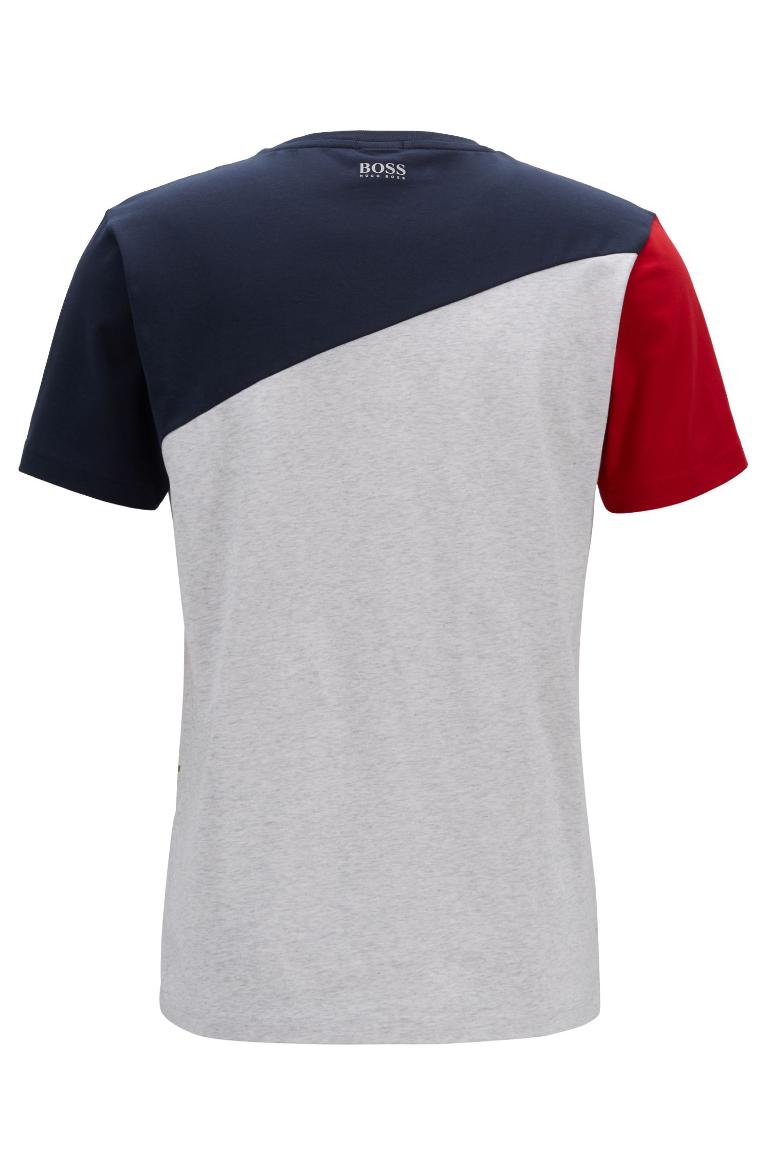 Colour-block T-shirt in stretch cotton with fineline artwork, Red