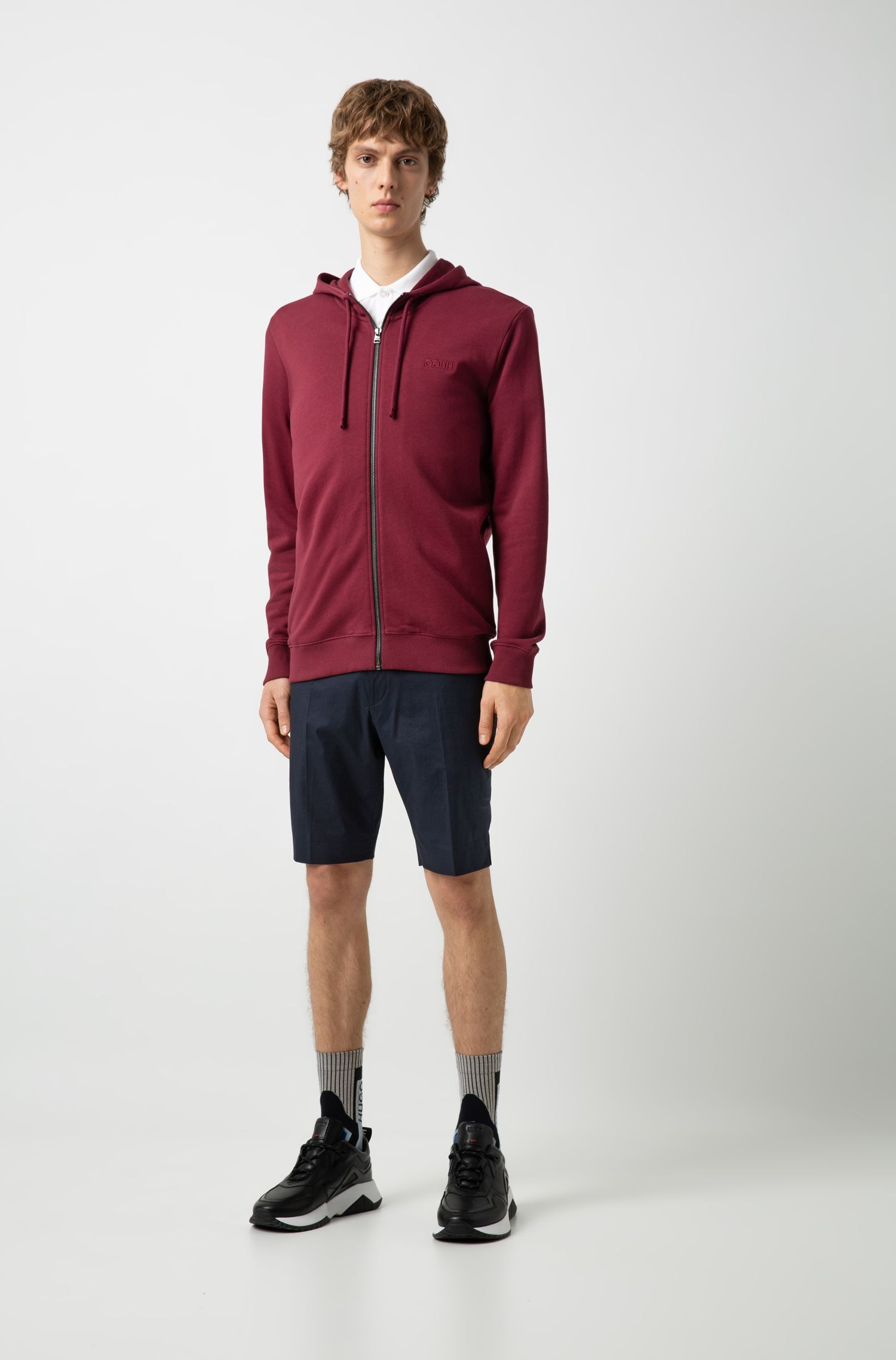 Hugo Boss - Zip-through hoodie in French terry with reverse logo - 3