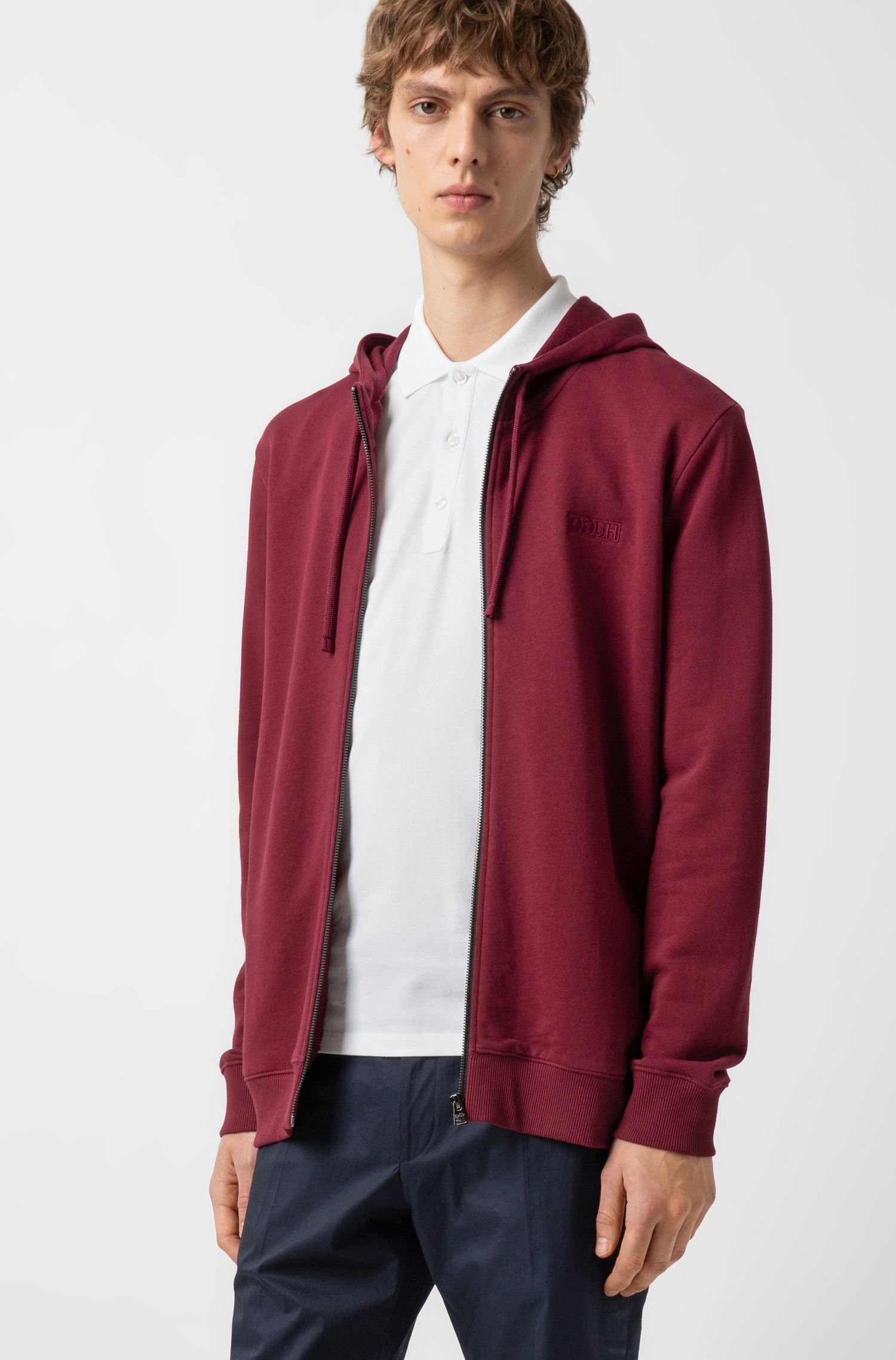 Hugo Boss - Zip-through hoodie in French terry with reverse logo - 2