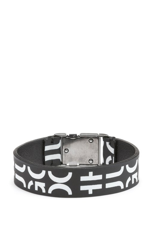 Hugo Boss - Buckle-closure bracelet in Italian leather with cropped logo - 1