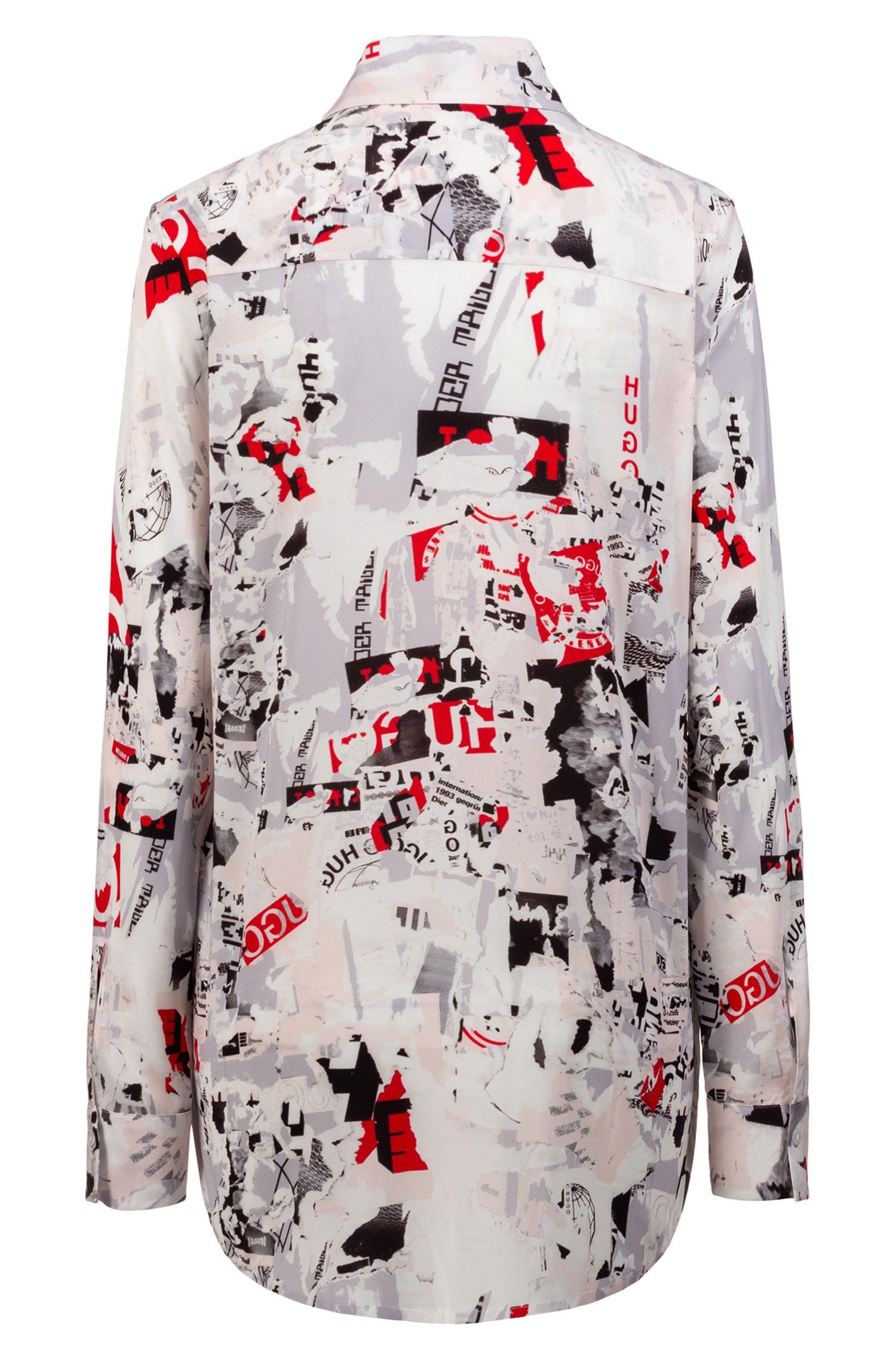 Blusa de manga larga en tejido elástico con estampado llamativo, Fantasía