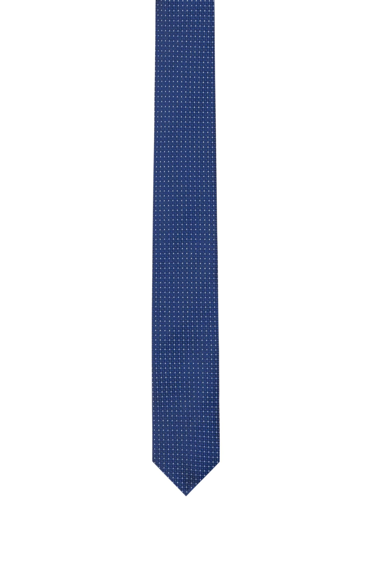 Straight tie in micro-pattern silk jacquard, Patterned