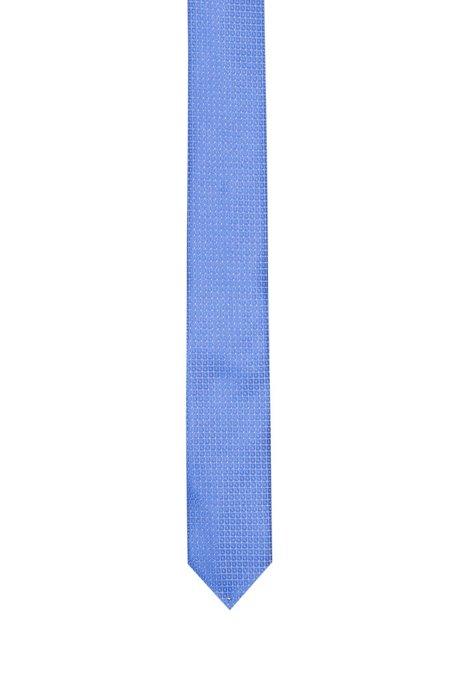 Rechte stropdas in een jacquard van zijde met microdessin, Bedrukt