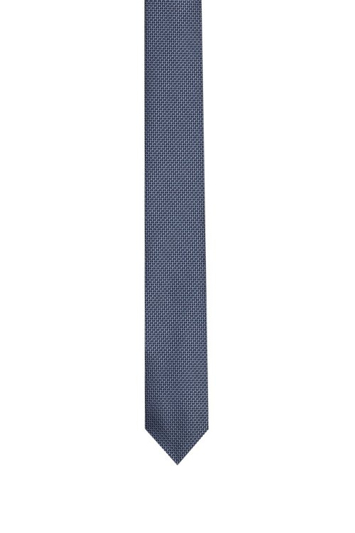 Hugo Boss - Straight silk tie with a micro pattern - 1