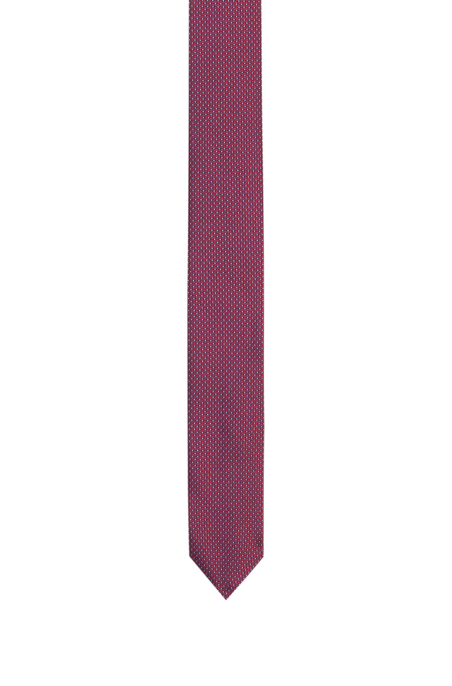 Hugo Boss - Straight silk tie with a micro pattern - 1