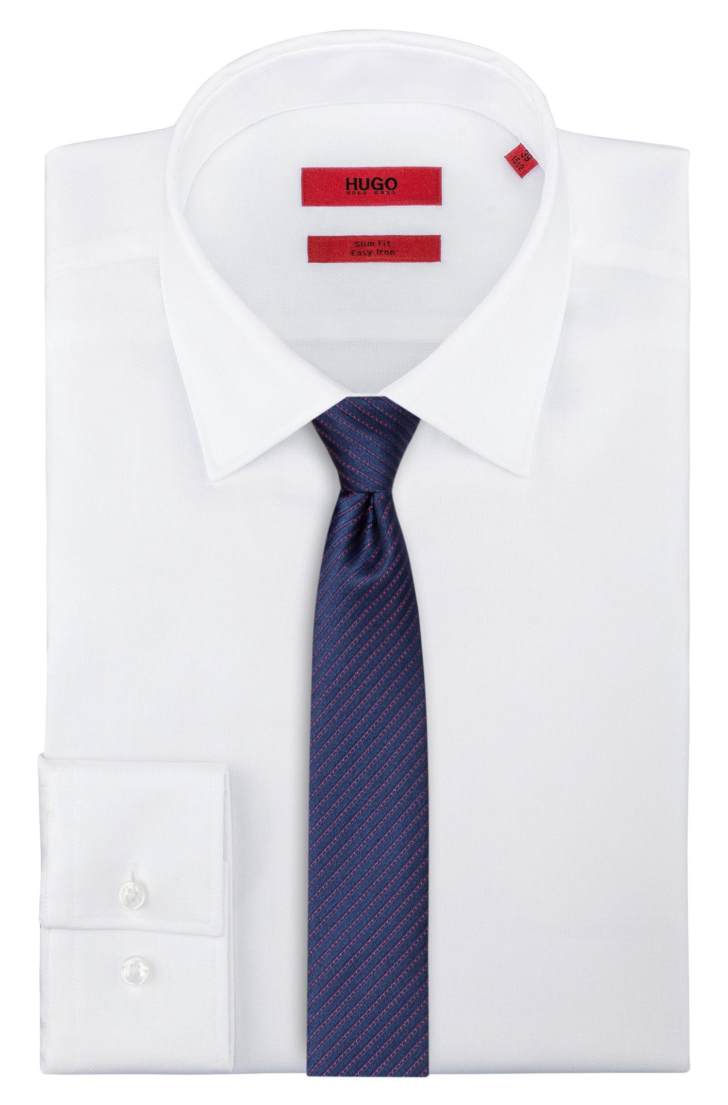 Cravatta in seta jacquard a righe diagonali, Rosa chiaro