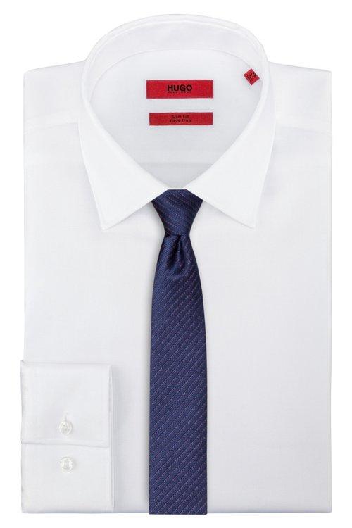 Hugo Boss - Diagonally striped tie in silk jacquard - 1
