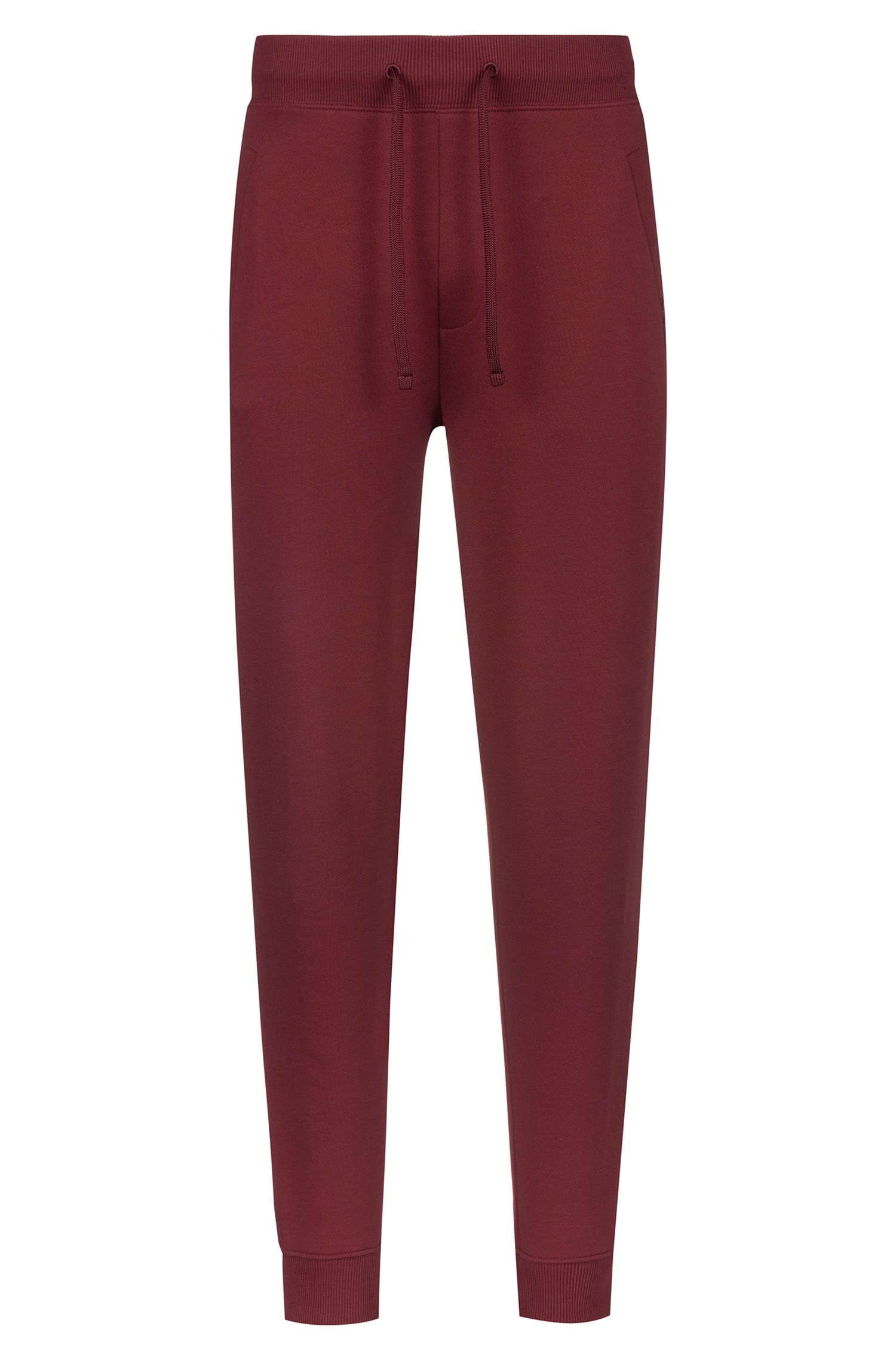 Jersey trousers in French terry with reverse-logo trim, Dark Red
