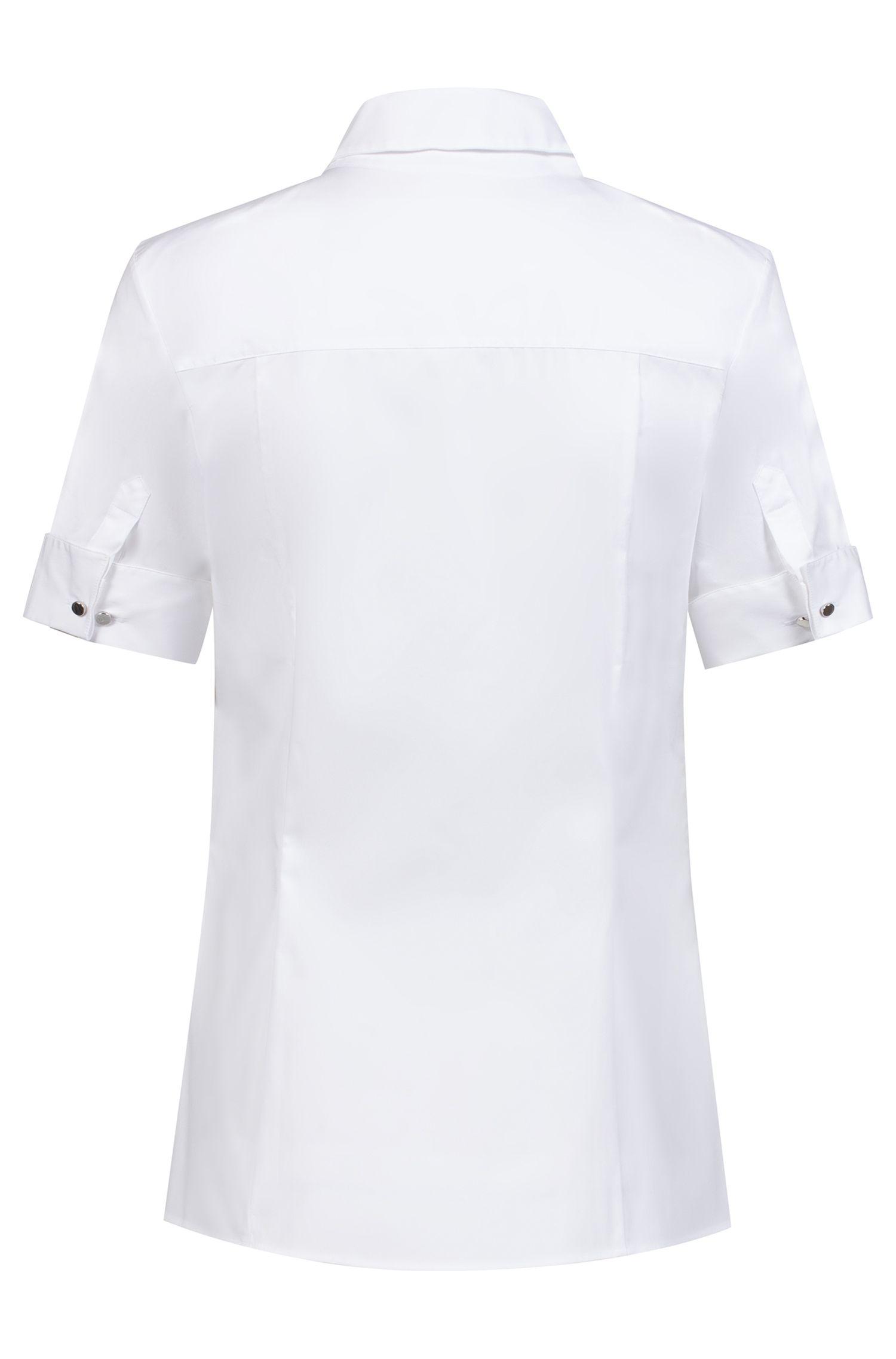 Slim-Fit Kurzarm-Bluse mit geknöpften Manschetten, Weiß