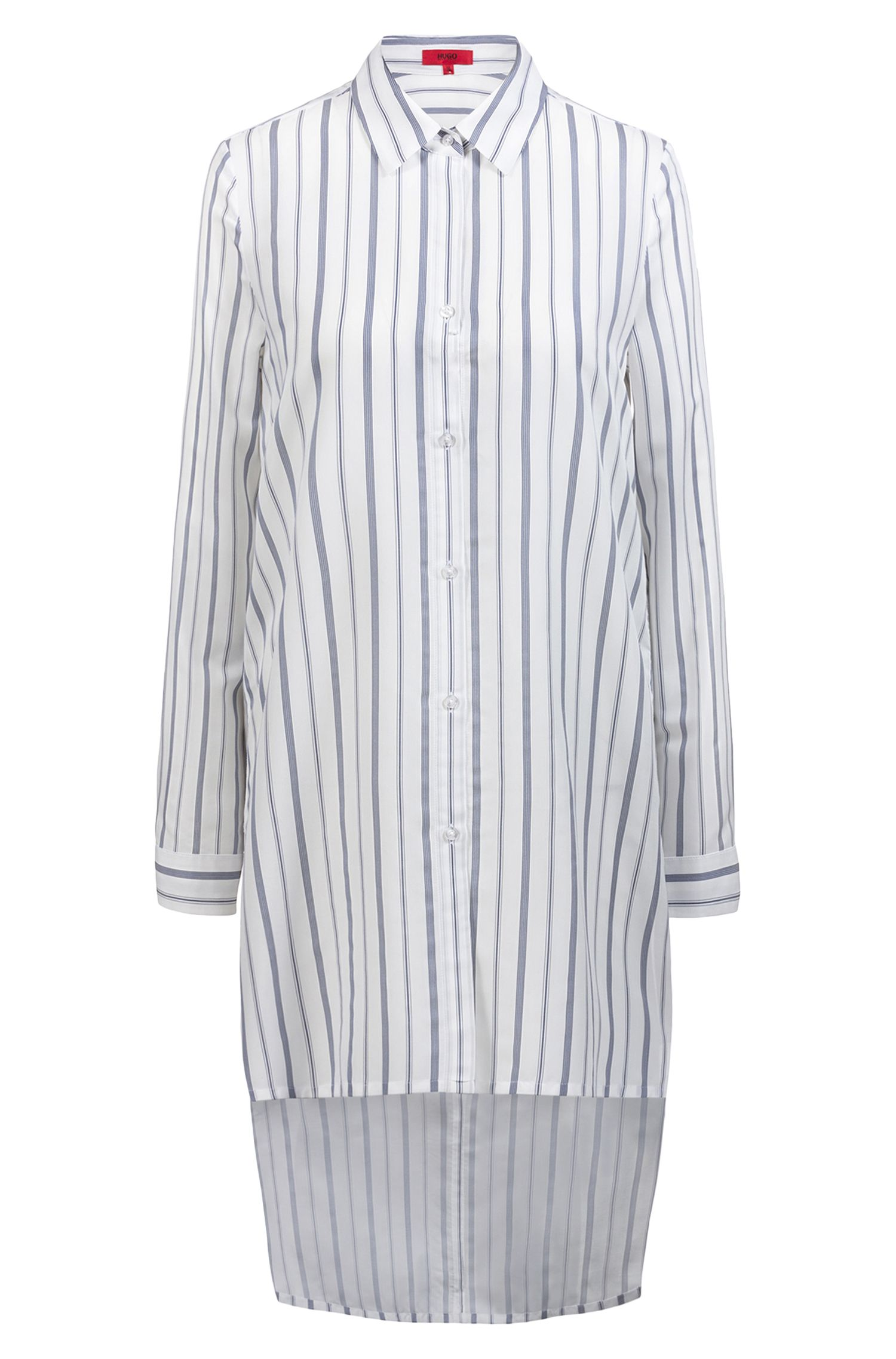 Longline striped blouse with stepped back hem, Patterned