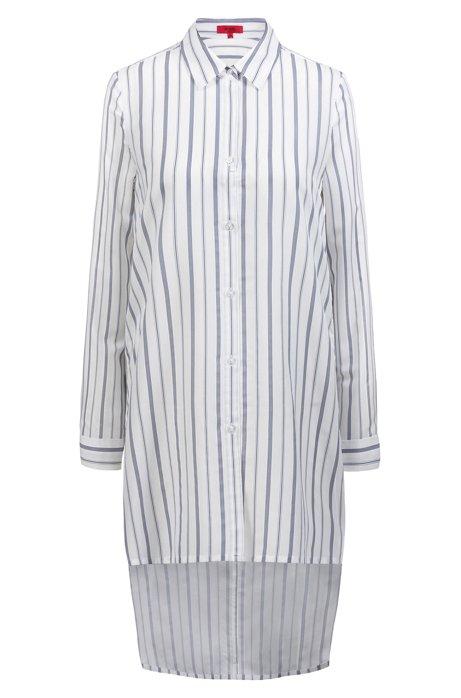 Langere, gestreepte blouse met gestikte achterzoom, Bedrukt
