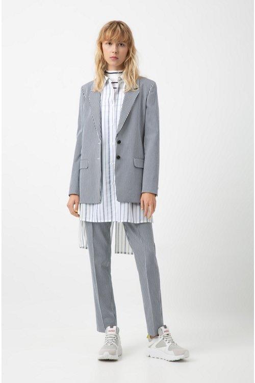Hugo Boss - Longline striped blouse with stepped back hem - 2