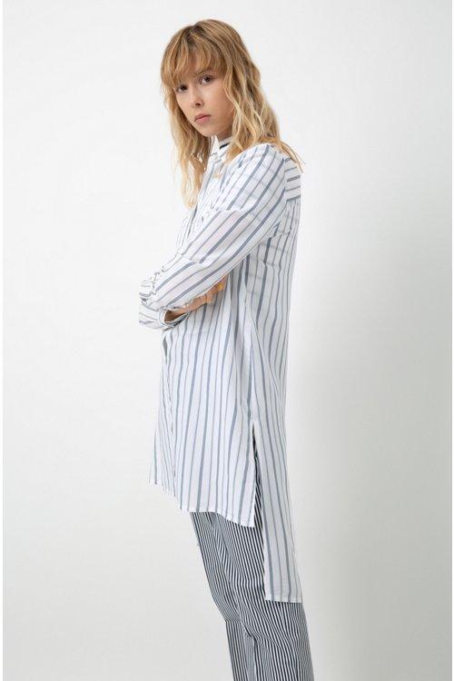 Hugo Boss - Longline striped blouse with stepped back hem - 3