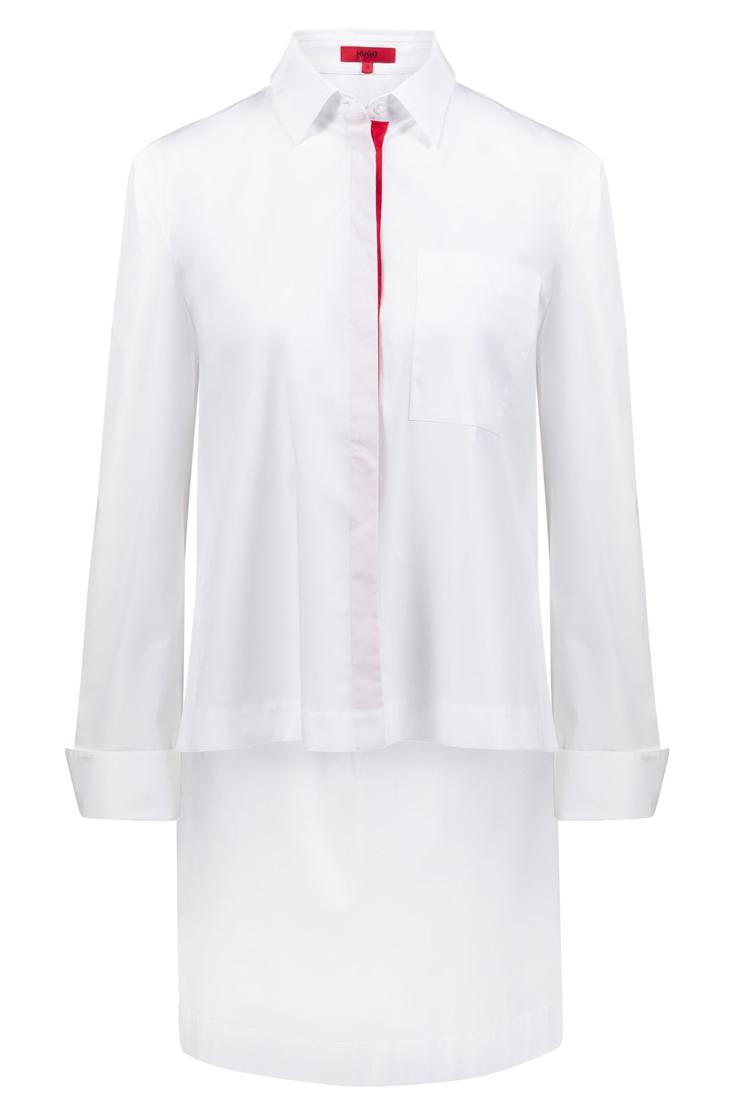 Stretch-cotton blouse with long back hem, White