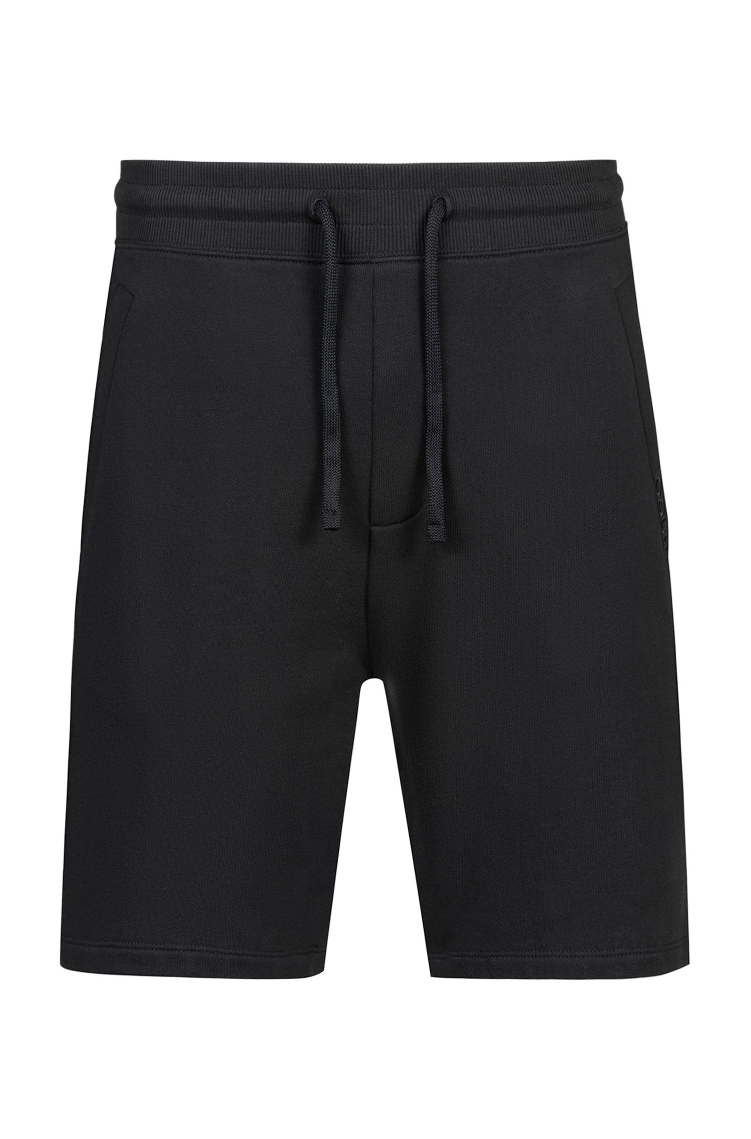 Drawstring shorts in French terry, Black