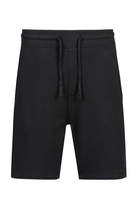 Pantaloncini in french terry con cordoncino, Nero