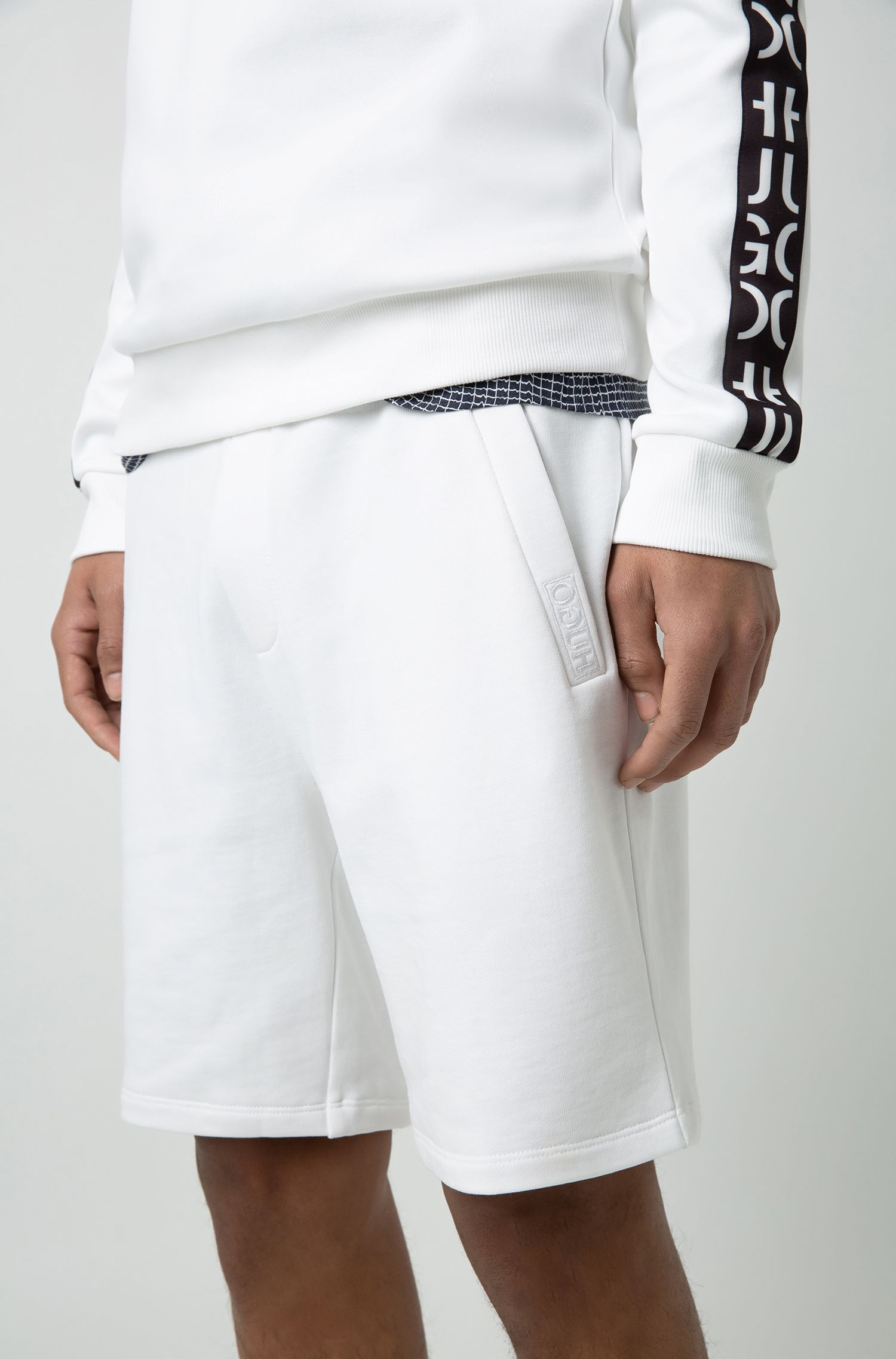 Pantaloncini in french terry con cordoncino, Bianco