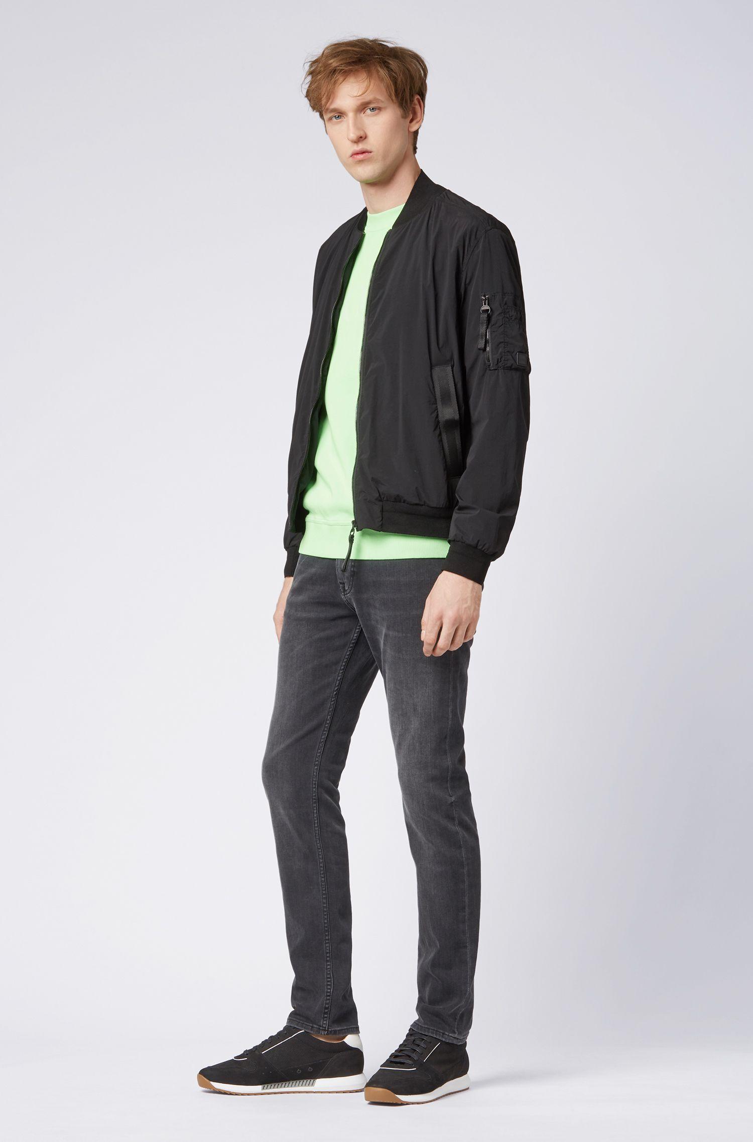 Jeans slim fit in denim grigio fumo super-elasticizzato, Grigio antracite