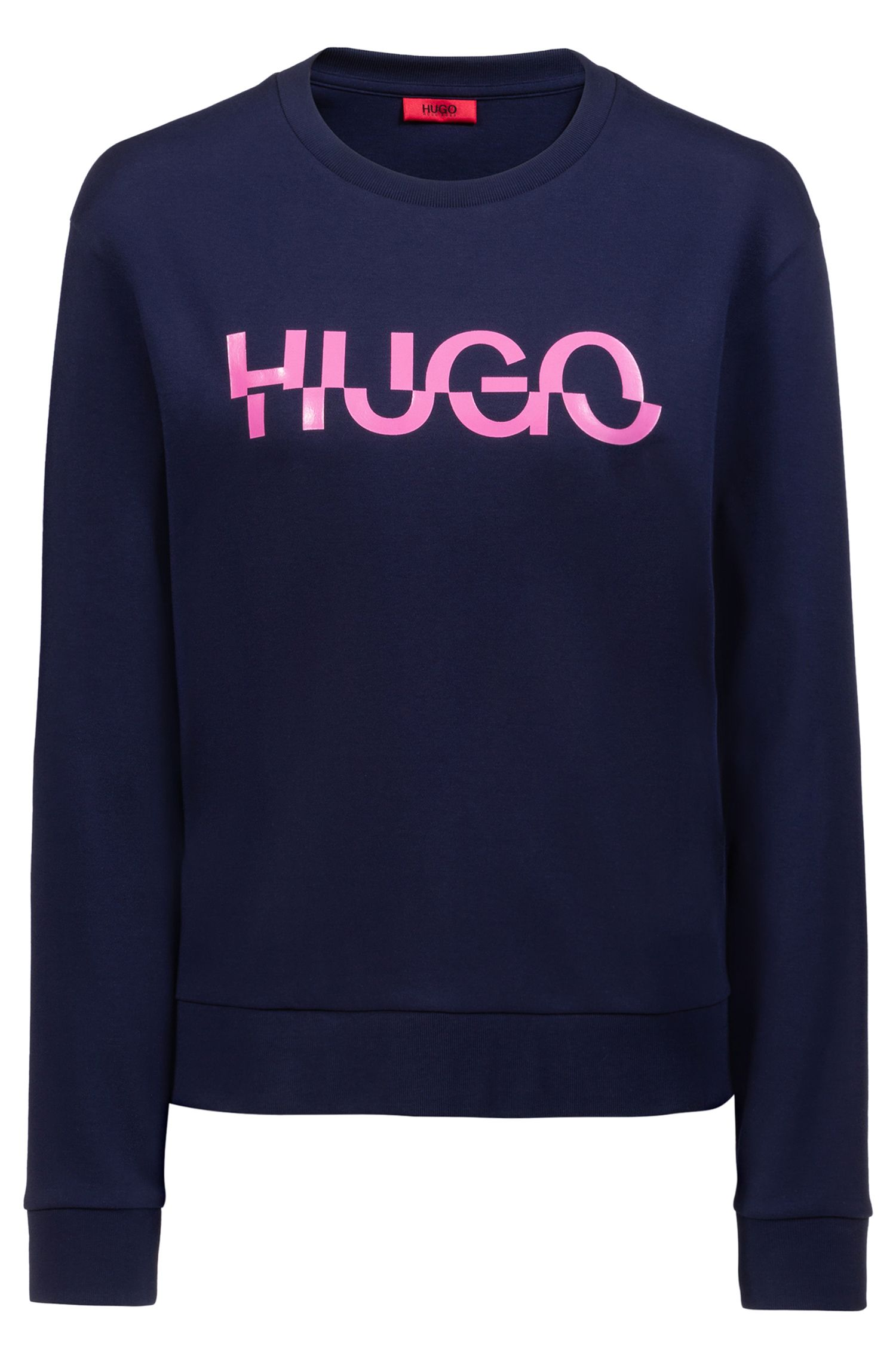 Relaxed-fit sweatshirt in cotton with new-season logo, Dark Blue