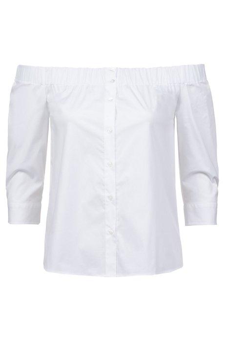 Chemisier à manches raccourcies en coton stretch, à épaules dénudées, Blanc