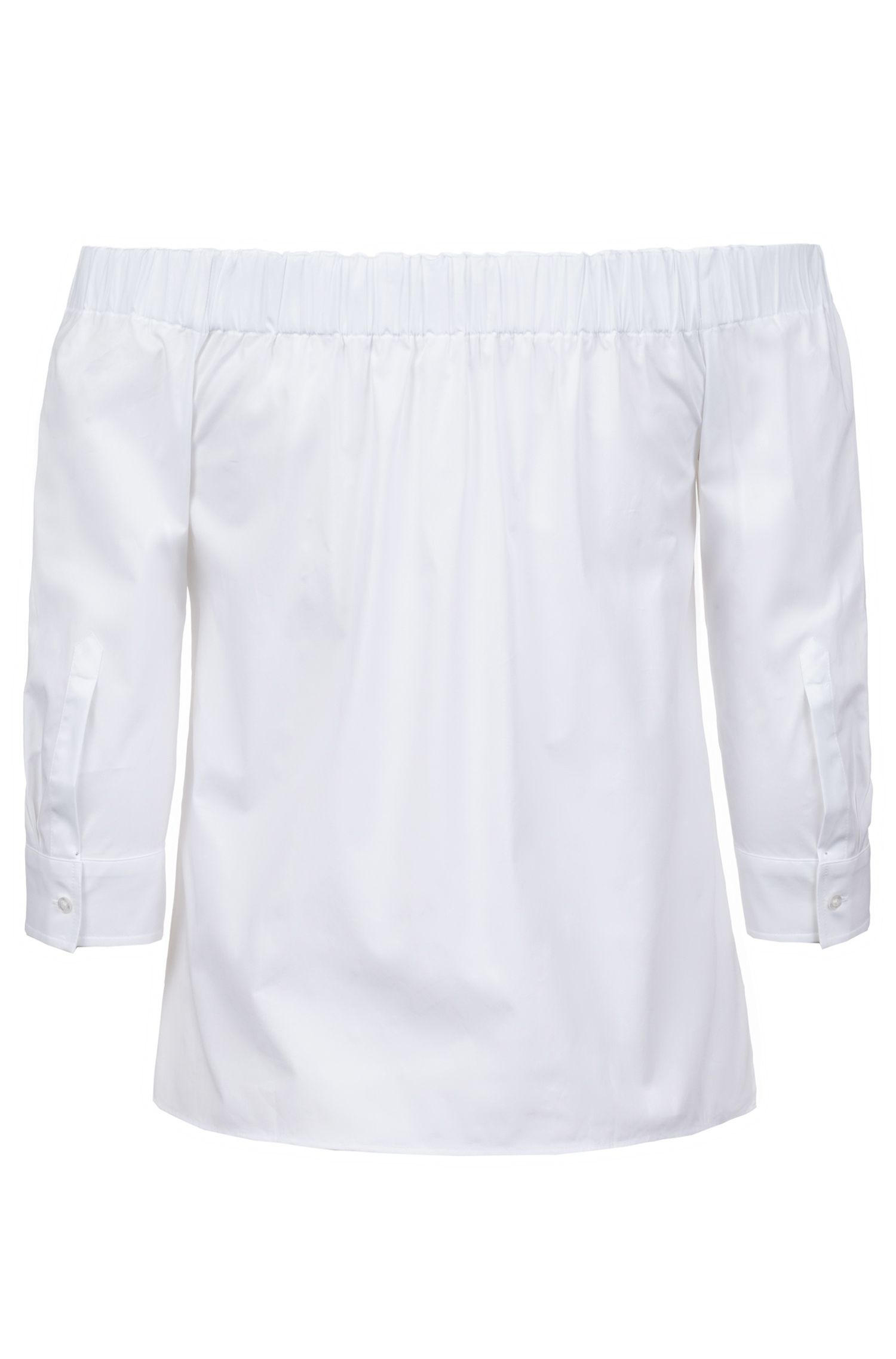 Cropped-sleeve blouse in stretch cotton with Bardot neckline, White