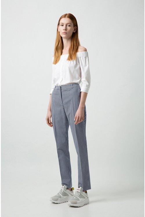 Hugo Boss - Bluse aus Stretch-Baumwolle mit Bardot-Ausschnitt und verkürzten Ärmeln - 2